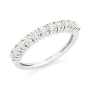 Silver Lab Grown Half Eternity Diamond Wedding Rin